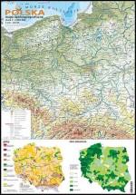 Polska - mapa ogólnogeograficzna + mapki gleb i zalesienia
