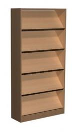 Regał biblioteczny skośne półki , schowki - E