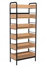 Regał biblioteczny C rama metalowa jednostronny z zabezpieczeniem tyłu i boków